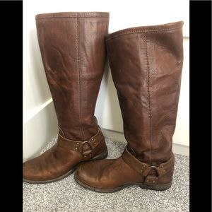 Frye tall extended calf brown boot